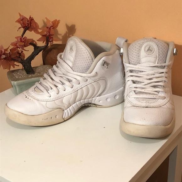 White Jordan jump man sneakers